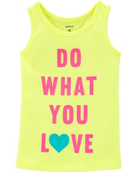 Débardeur fluo à slogan Do What You Love