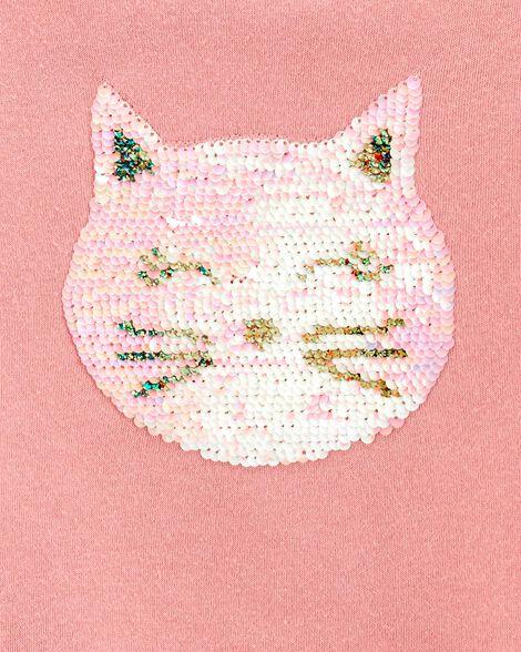 Glitter Flip Sequin Cat Fleece Sweatshirt