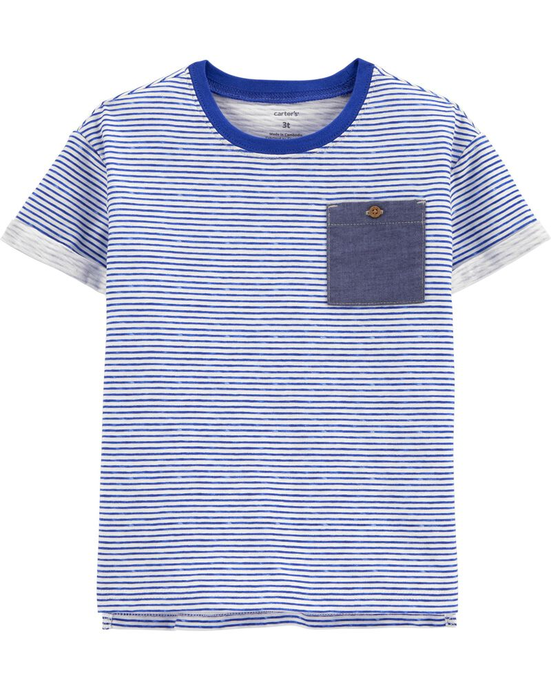 Striped Pocket Slub Jersey Tee, , hi-res