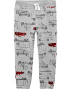 Pantalon à enfiler en molleton motif voiture, , hi-res