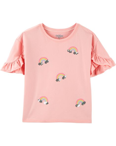 Ruffle Sleeve Rainbow Top