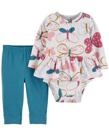 2-Piece Floral Peplum Bodysuit Pant...