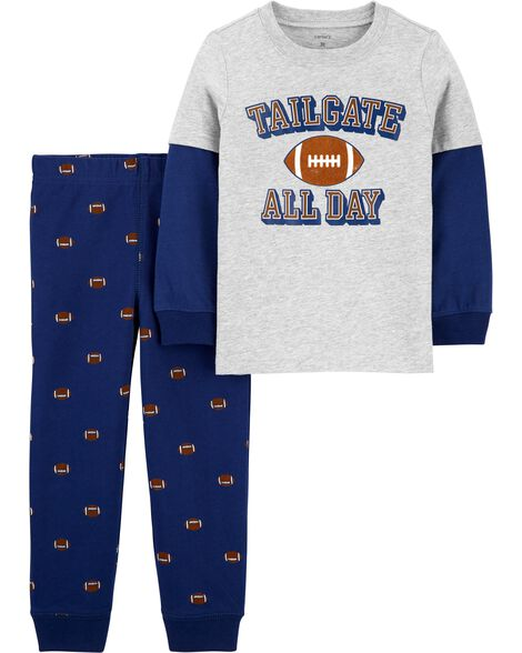2-Piece Football Layered-Look Tee & Jogger Set