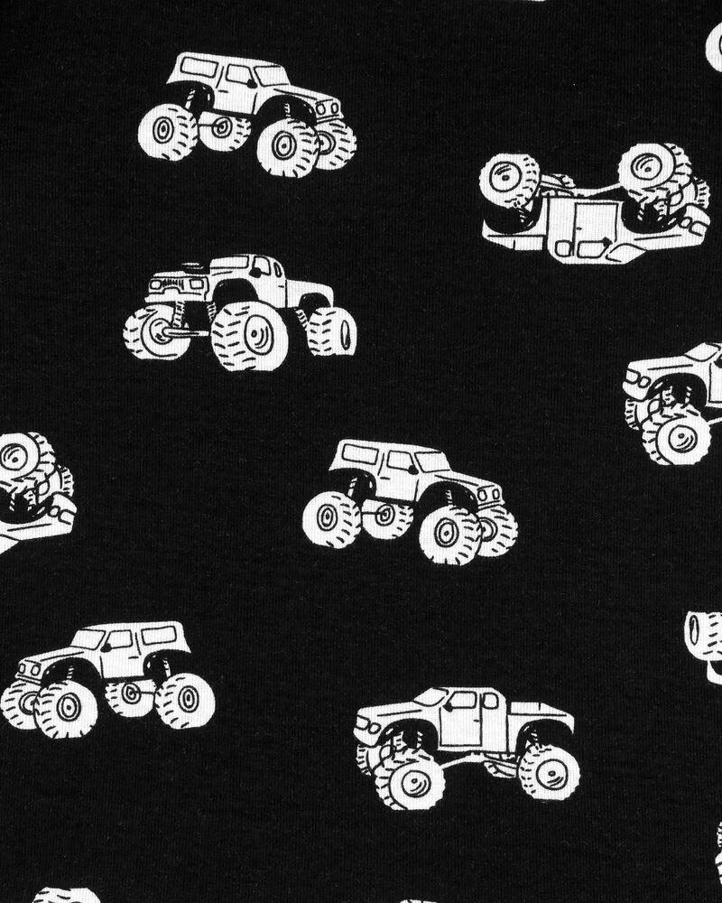 Pyjama 4 pièces en coton ajusté à motif de monstre, , hi-res
