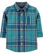 Plaid Button-Front Shirt, , hi-res