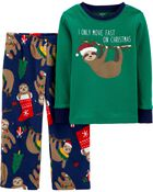 2-Piece Santa Sloth Fleece PJs, , hi-res