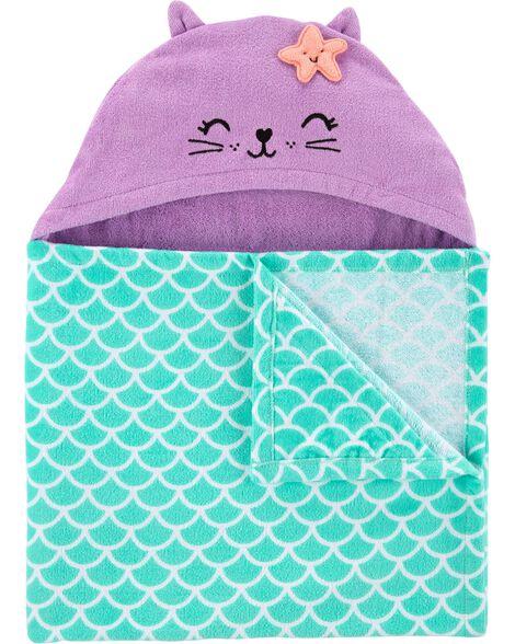 Serviette à capuchon chat sirène