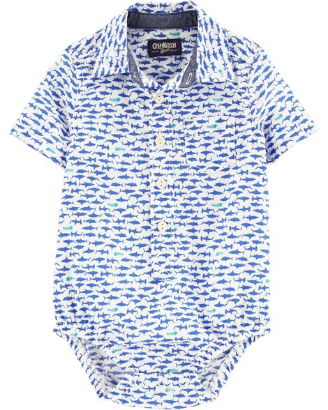 Shark Button-Front Bodysuit