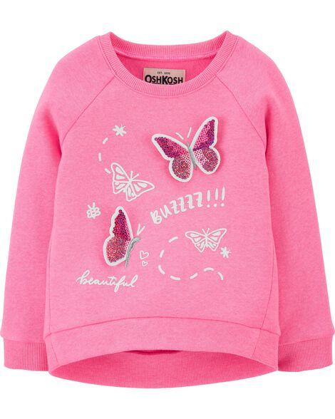Sequin Butterfly Fleece Pullover