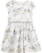 Floral Woven Sateen Dress, , hi-res
