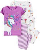 4-Piece Unicorn Snug Fit Cotton PJs, , hi-res