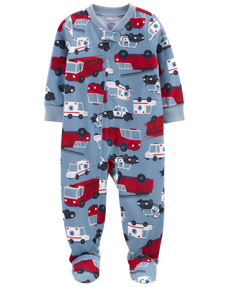 Pyjama 1 pièce de coupe ample à pieds camion d'incendie, , hi-res