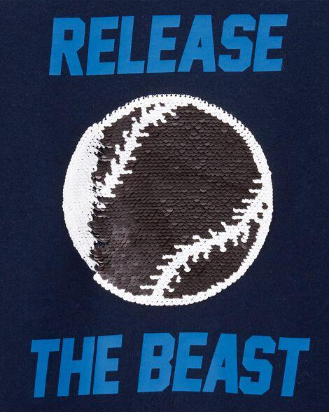 T-shirt de baseball à paillettes réversibles