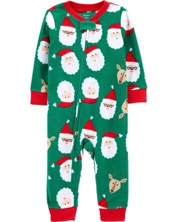 1-Piece Santa Fleece Footless PJs