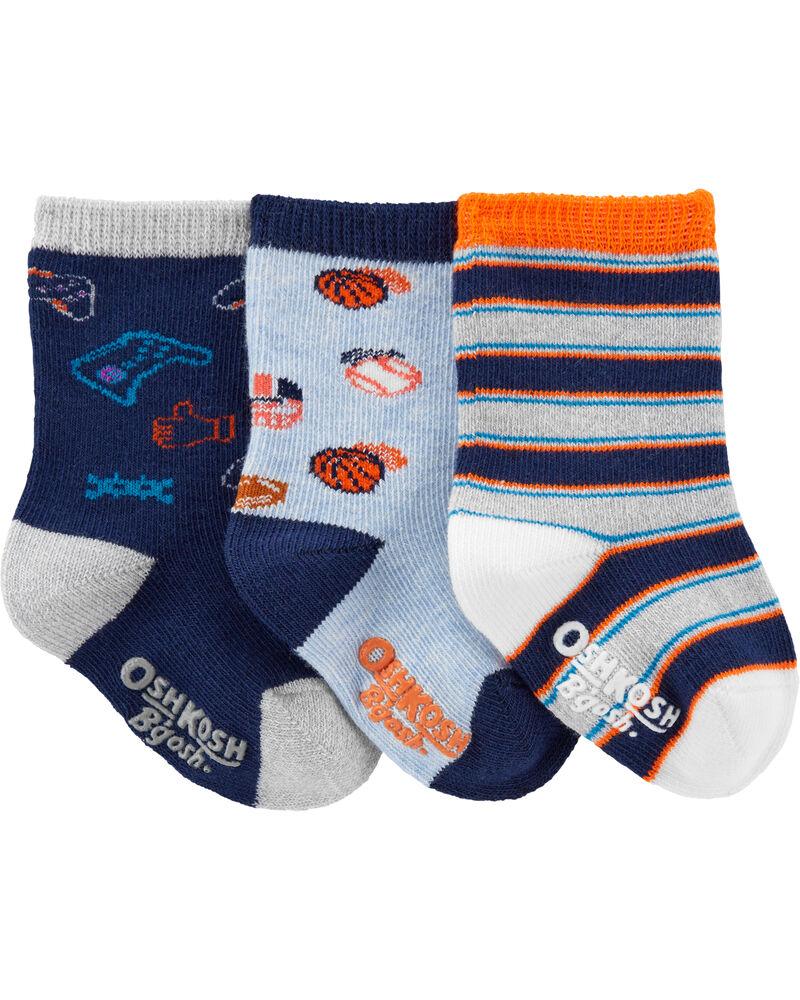 3-Pack Let's Play Crew Socks, , hi-res