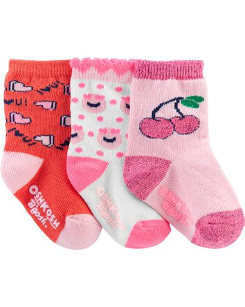 3-Pack Hearts Crew Socks