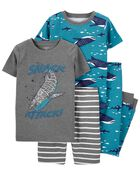 4-Piece Whale 100% Snug Fit Cotton PJs, , hi-res