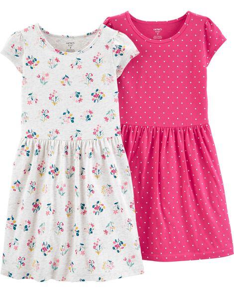 2-Pack Floral & Polka Dot Jersey Dress Set