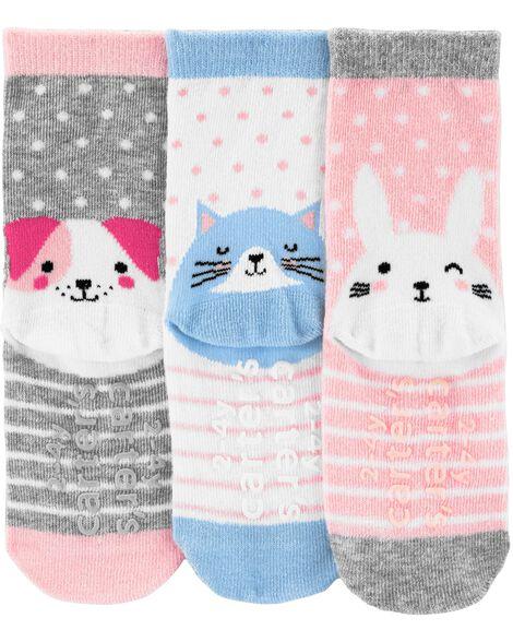 3 paires de chaussettes mi-mollet avec animaux