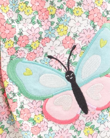 Floral Butterfly Snap-Up Romper