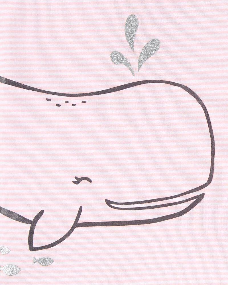 4-Piece Whales 100% Snug Fit Cotton PJs, , hi-res