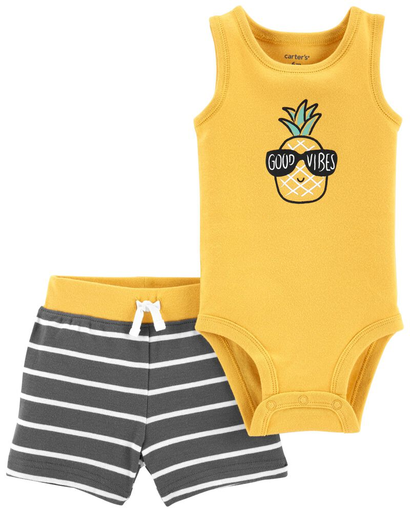 2-Piece Pineapple Bodysuit & Short Set, , hi-res