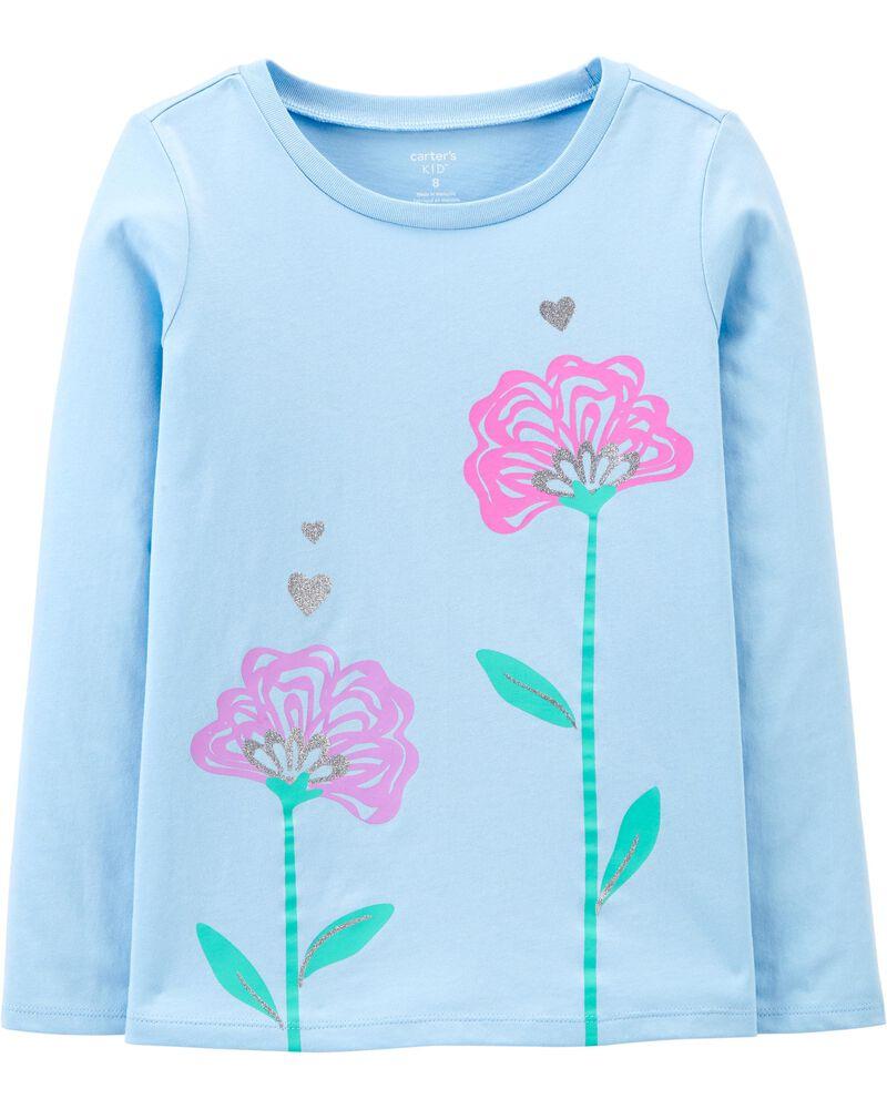 T-shirt en jersey à fleurs scintillantes, , hi-res