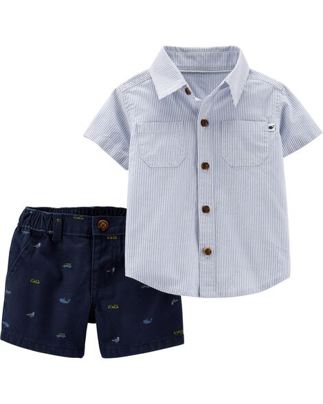 2-Piece Striped Button-Front & Twill Short Set
