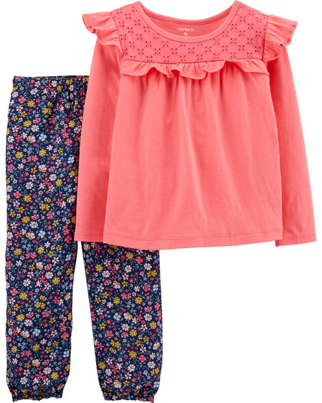 2-Piece Ruffle Top & Floral Plant Set