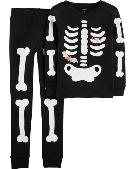 2-Piece Skeleton Snug Fit Cotton PJs