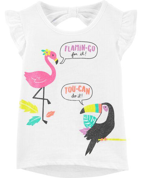 T-shirt en jersey flammé à flamant et toucan avec bord asymétrique