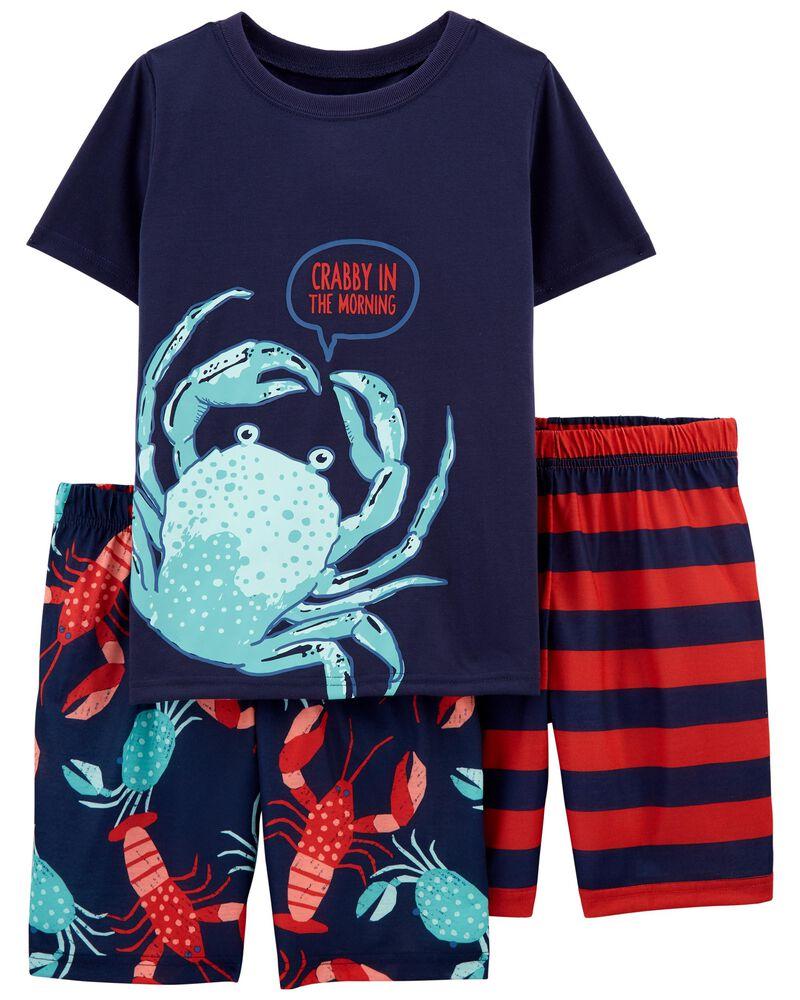Pyjama 3 pièces en polyester de coupe ample à crabe, , hi-res