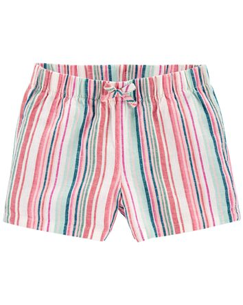 Striped Pull-On Linen Shorts