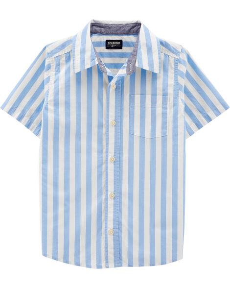 Striped Short Sleeve Button-Front Shirt