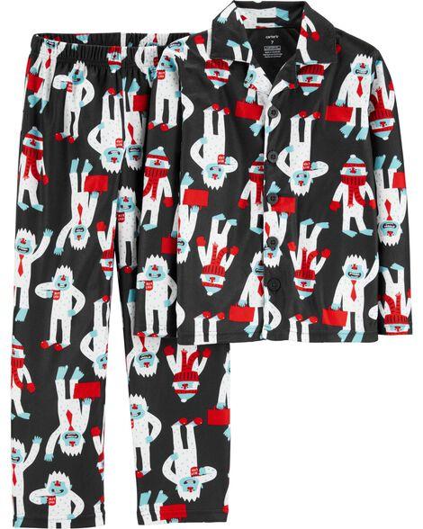 2-Piece Abominable Snowman Coat Style Fleece PJs