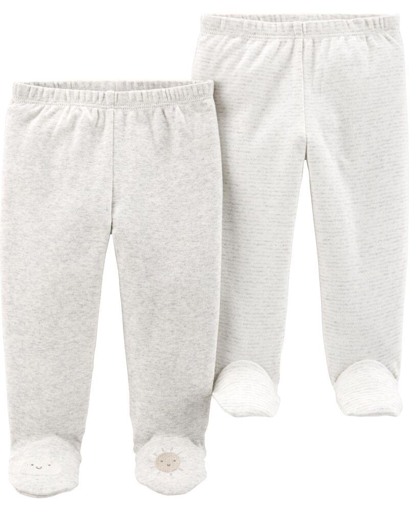 Emballage de 2 pantalons doux avec pieds, , hi-res