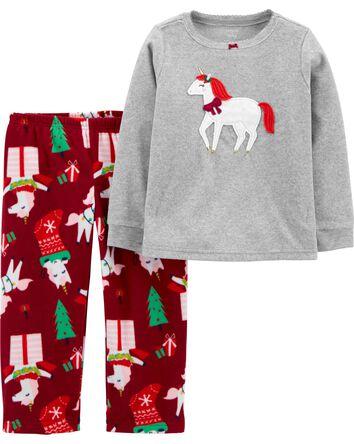 2-Piece Holiday Unicorn Fleece PJs