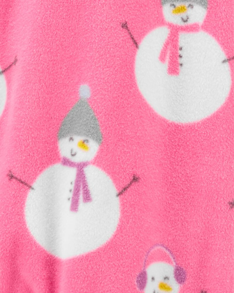 1-Piece Snowman Fleece Footie PJs, , hi-res