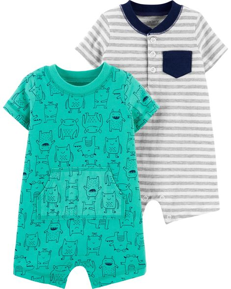 2-Pack Striped & Monster Rompers