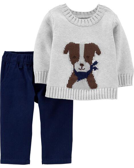 2-Piece Dog Sweater & Twill Pant Set