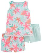 Pyjama 3 pièces de coupe ample fleuri, , hi-res