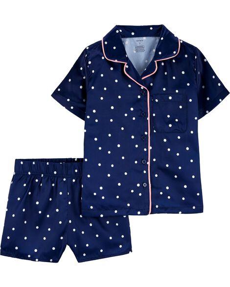 Pyjama 2 pièces en satin à pois boutonné à l'avant