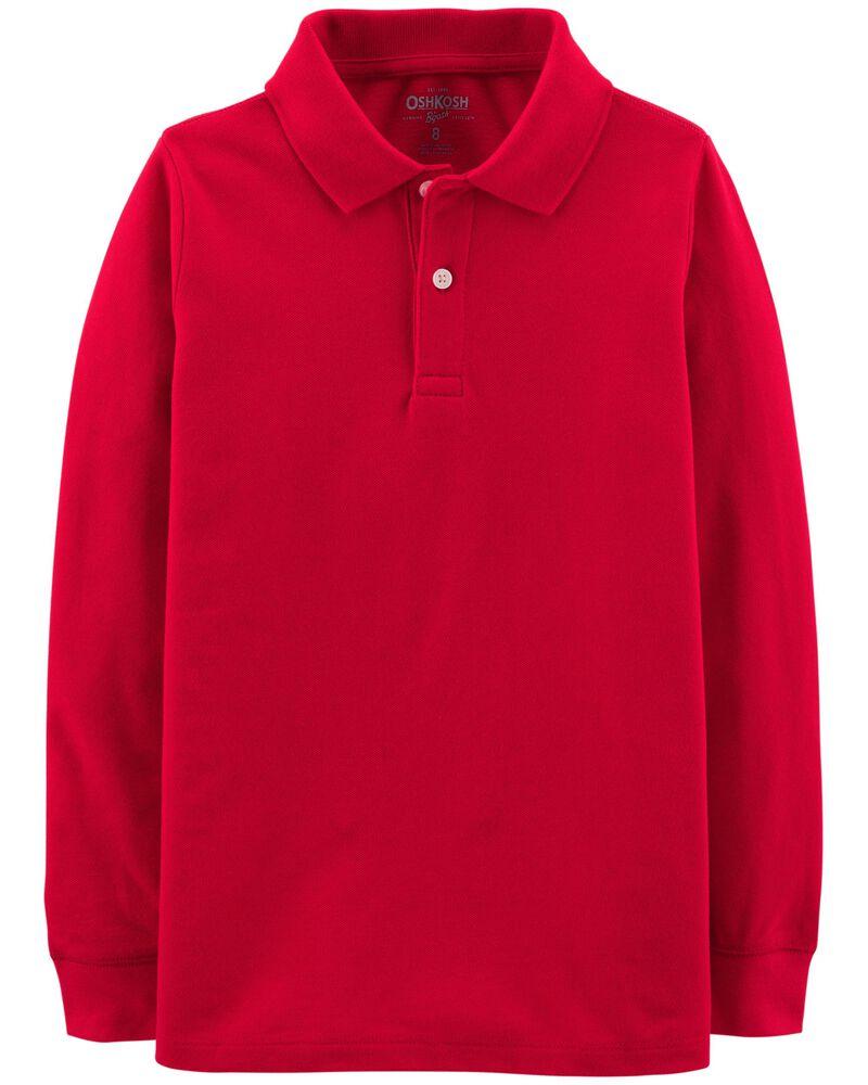 OshKosh BGosh Girls Little Long Sleeve Uniform Polo Shirt