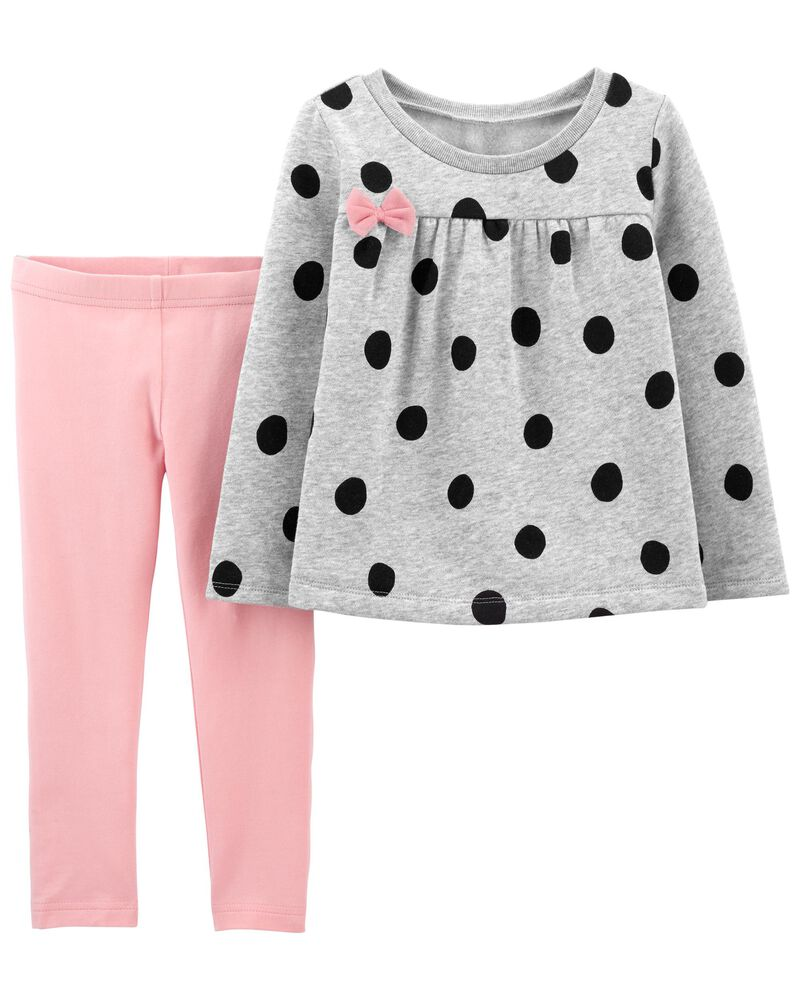 2-Piece Polka Dot Fleece Top & Legging Set, , hi-res