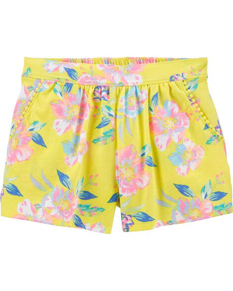 Tropical Floral Pom Pom Shorts