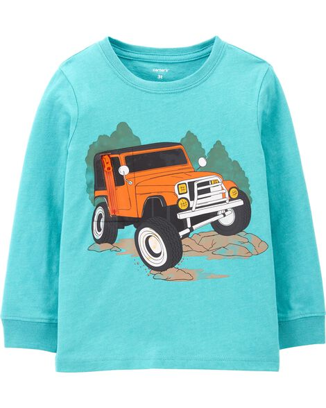 Truck Peek-A-Boo Snow Yarn Tee
