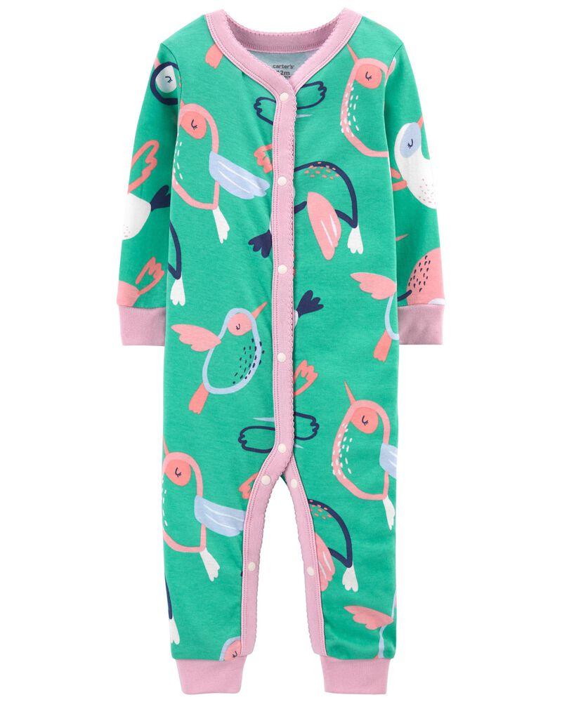Pyjama 1 pièce à boutons-pression et colibri, , hi-res
