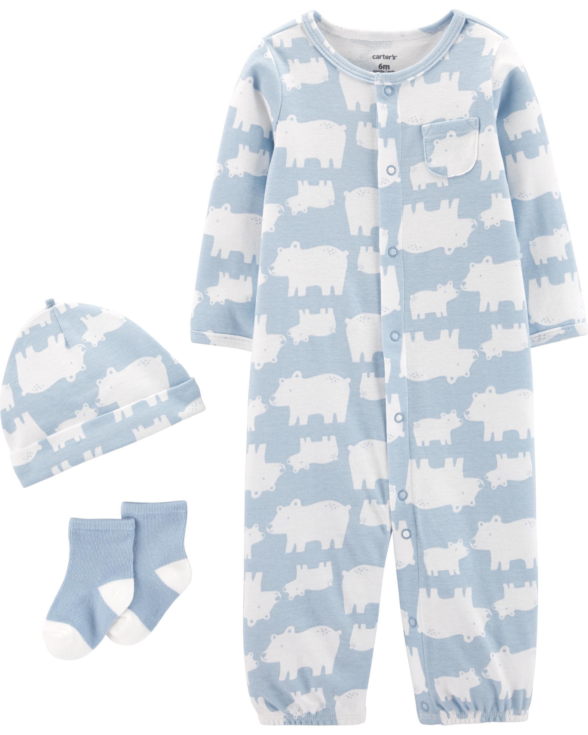 CARTER/'S 3 PIECE BABY BOYS CONVERTER GOWN  OUTFIT WHITE BLUE GIRAFFE