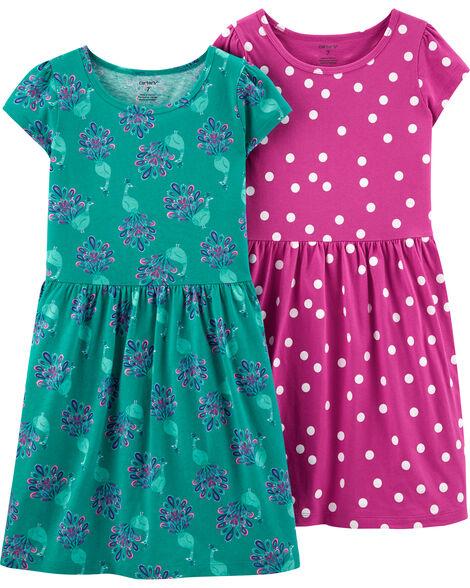 Emballage de 2 robes en jersey à pois et à motif de paon