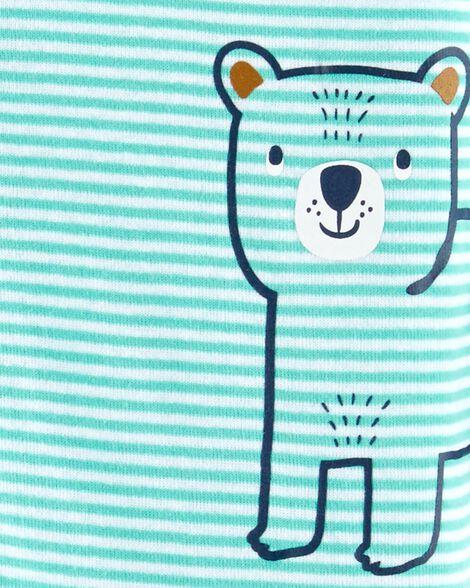 Pyjama 1 pièce sans pieds en coton ajusté à motif ourson